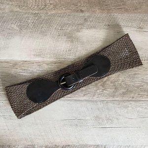 LOFT Brown Leather Metallic Wide Buckle Woven Belt
